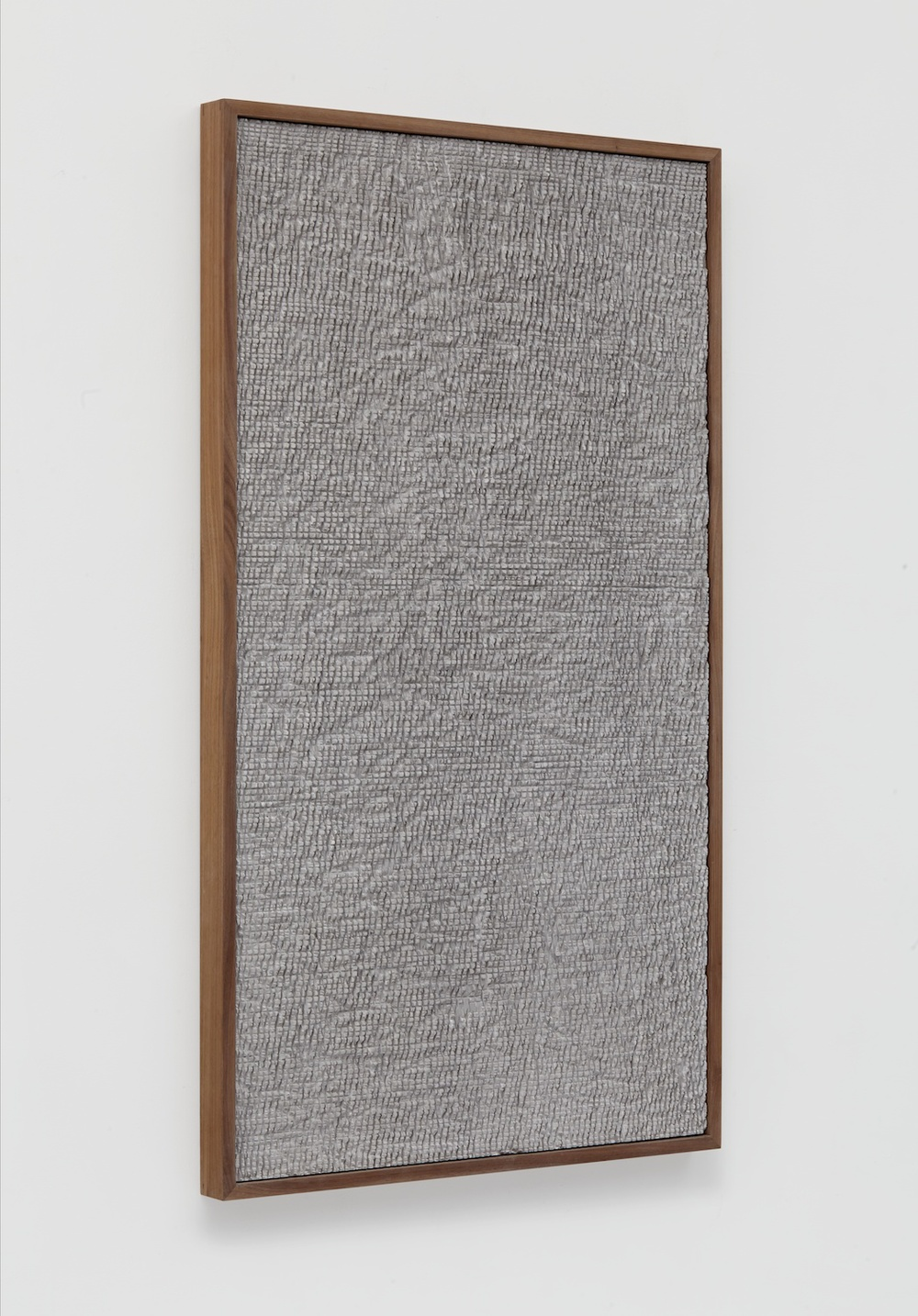 Anthony Pearson  Untitled (Etched Plaster)  2014 Pigmented hydrocal in walnut frame 48 ½h x 28w x 2 ¼d in AP353