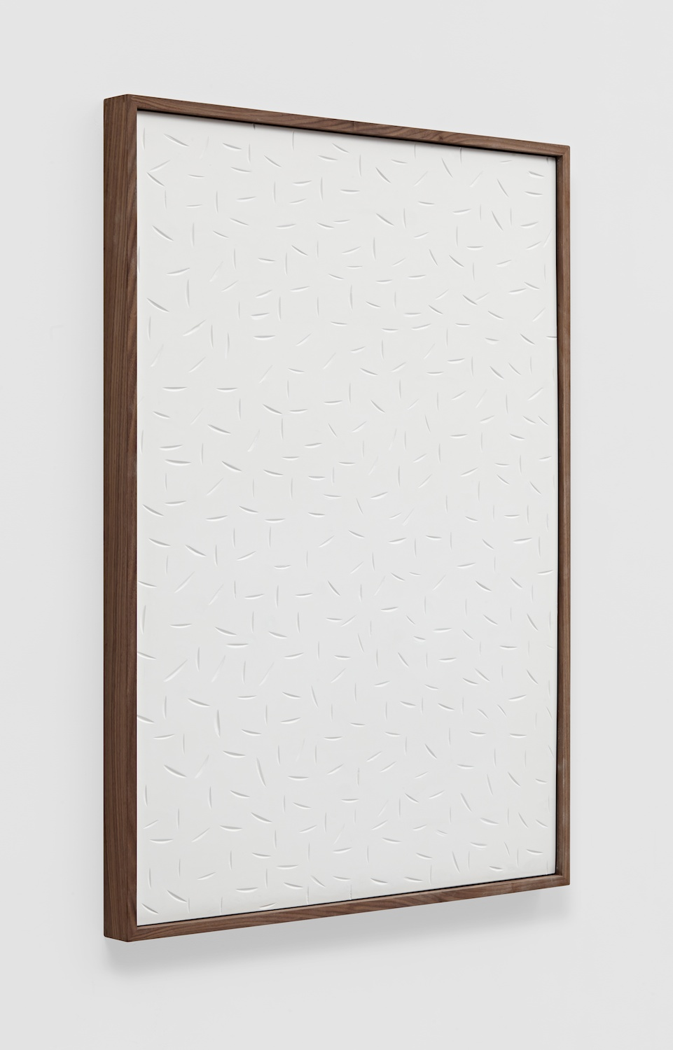 Anthony Pearson  Untitled (Etched Plaster)  2014 Pigmented hydrocal in walnut frame 43 ½h x 31 ½w x 2 ½d in AP357
