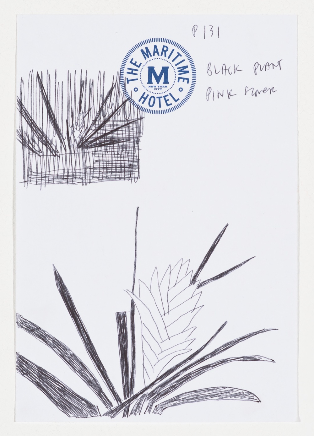 Jonas Wood  TMH5  2014 Ballpoint pen on paper 6 ½h x 4 ½w in JW178