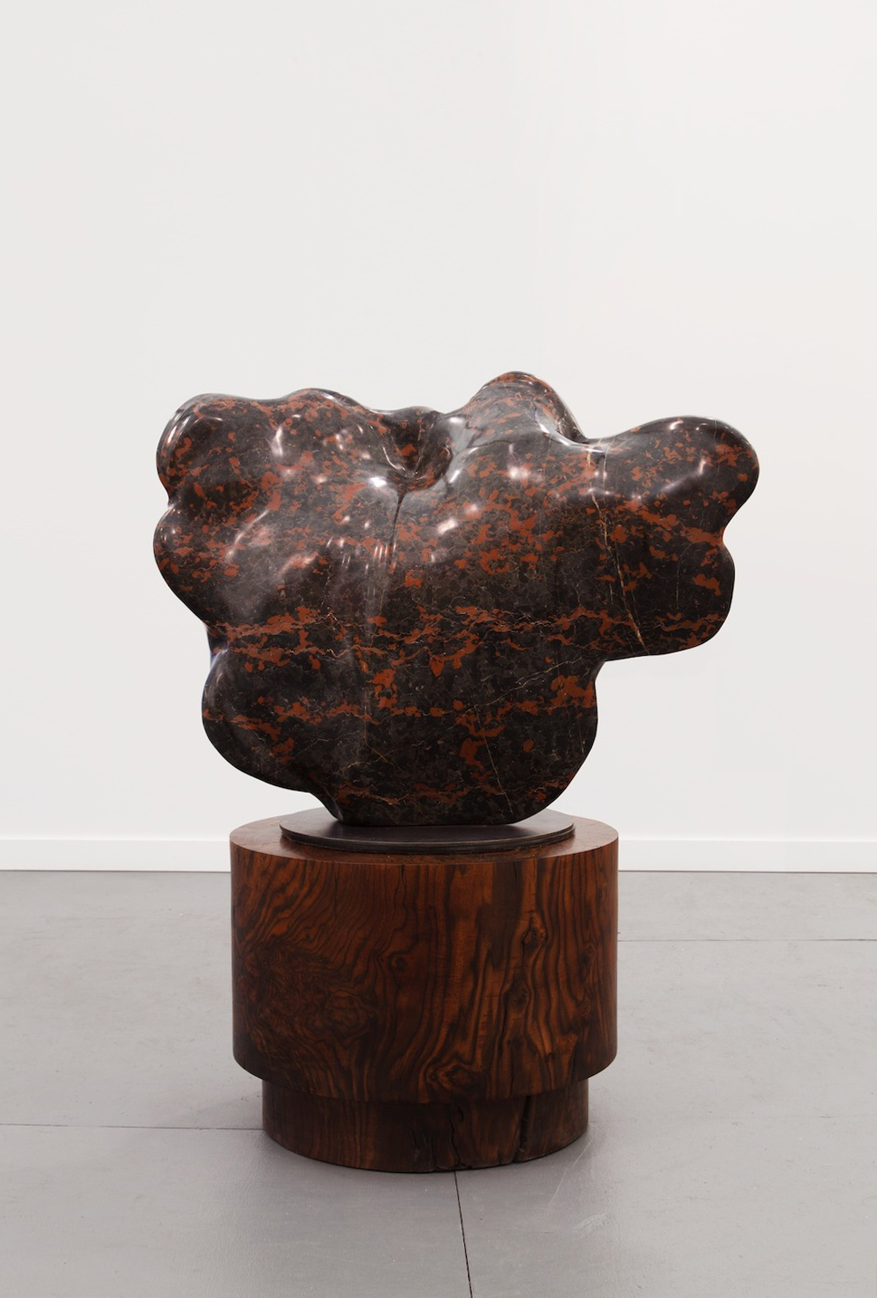 "Alma Allen Untitled 2014 Black marble with wooden base 52"" x 35"" x 24"" AA020"