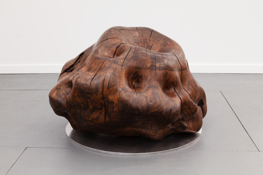 "Alma Allen Untitled 2014 Claro walnut with metal base 27"" x 36"" x 30"" AA022"