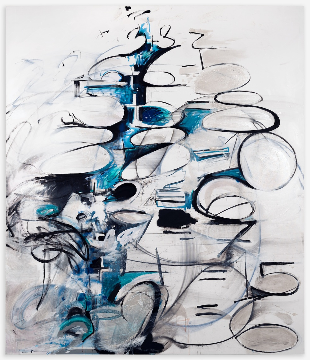 Suzanne McClelland  Solutions Double  2013 Charcoal, polymer, and oil on linen 84h x 72w in SM197