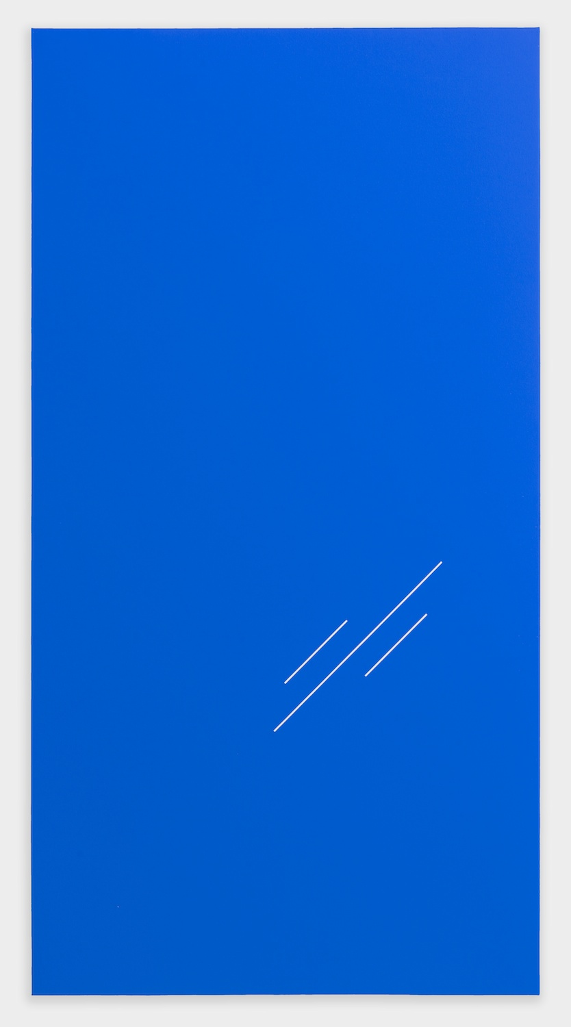 "Paul Cowan BCEAUSE THE SKY IS BULE 2013 Chroma-key blue paint on canvas 78"" x 41"" PC079"