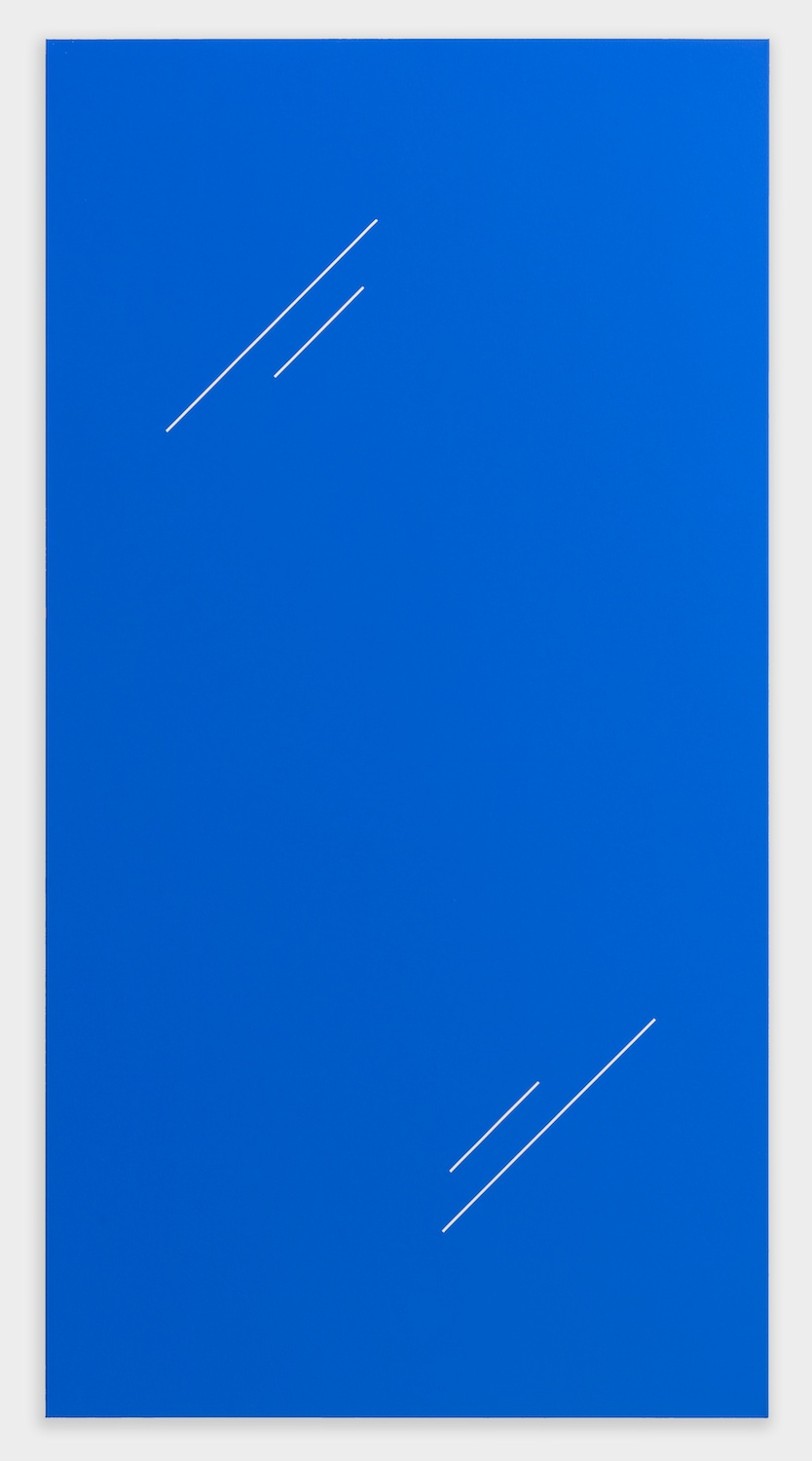 "Paul Cowan BCEAUSE THE SKY IS BULE 2013 Chroma-key blue paint on canvas 78"" x 41"" PC080"