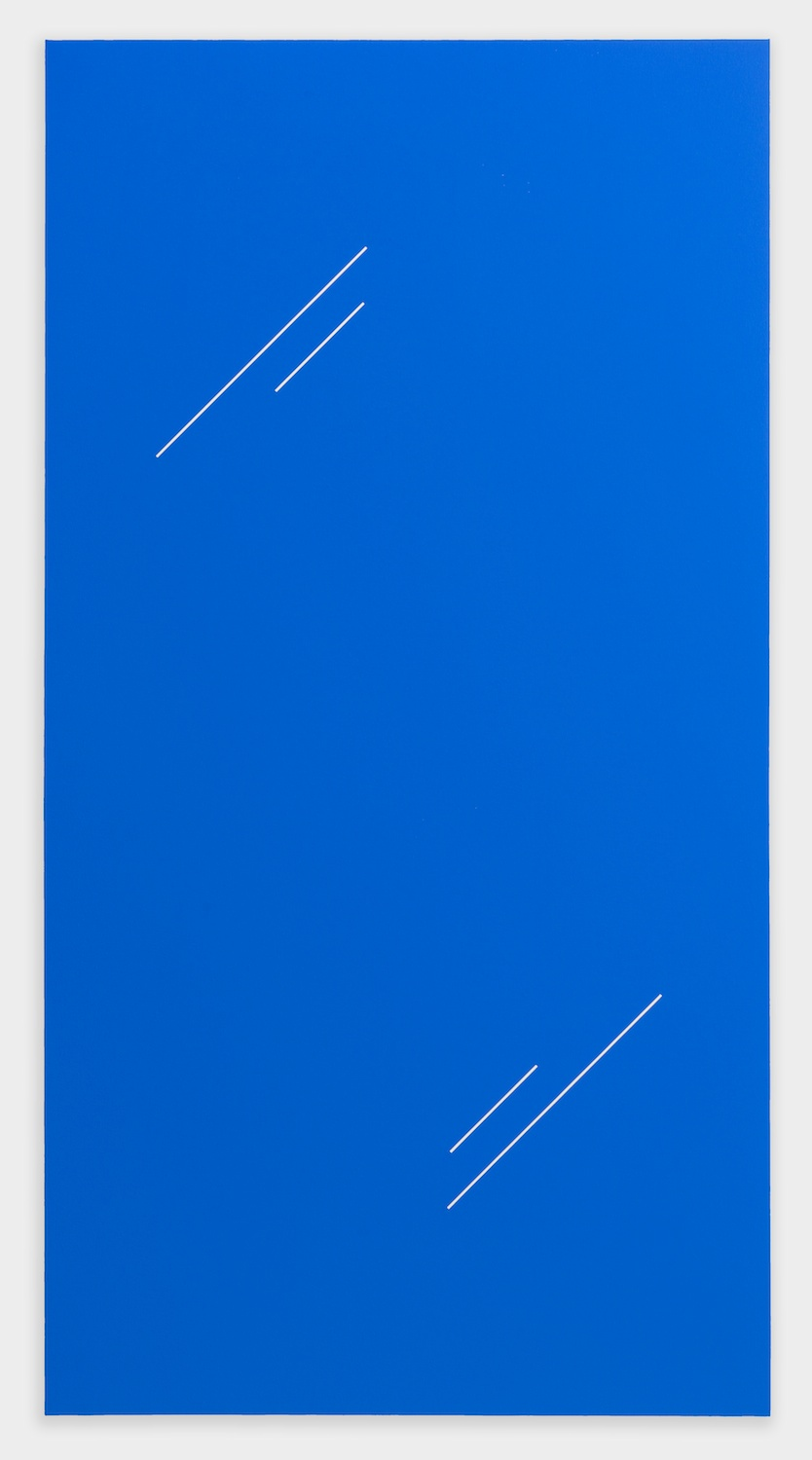 "Paul Cowan BCEAUSE THE SKY IS BULE 2013 Chroma-key blue paint on canvas 78"" x 41"" PC081"