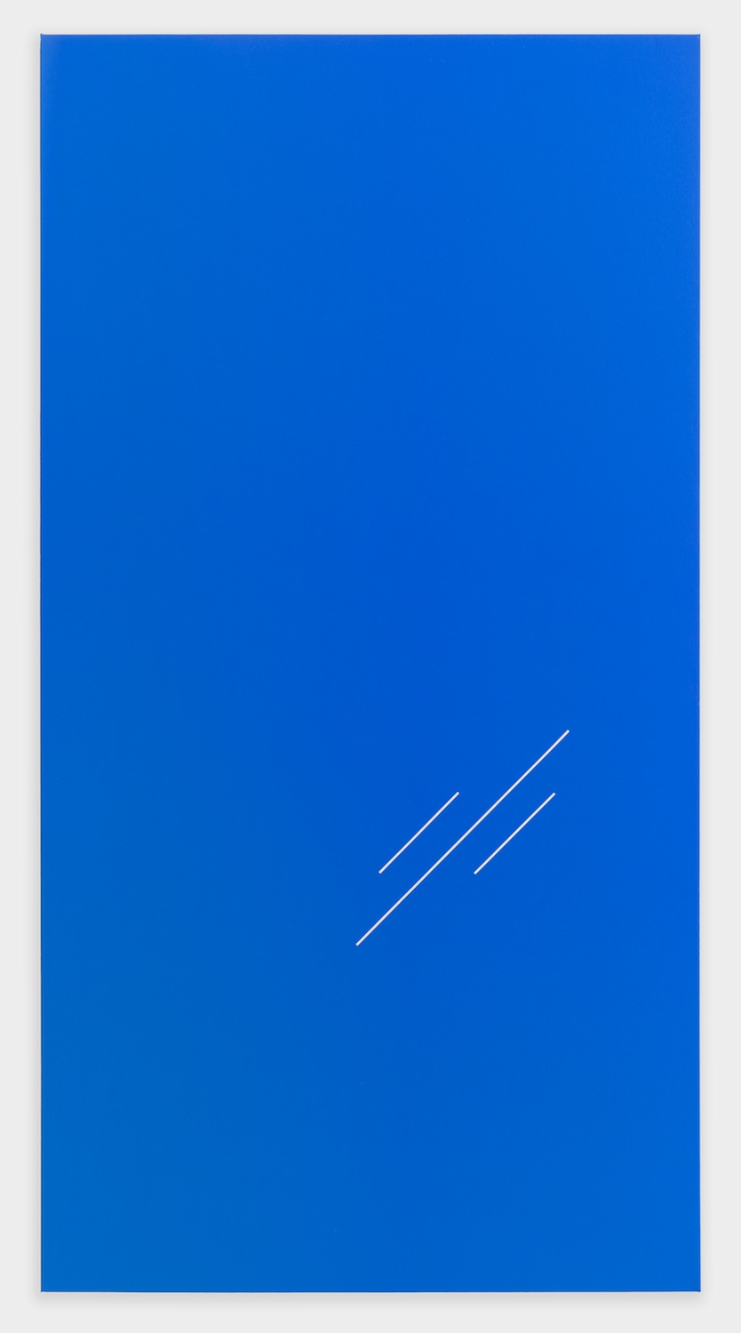 "Paul Cowan BCEAUSE THE SKY IS BULE 2013 Chroma-key blue paint on canvas 78"" x 41"" PC083"