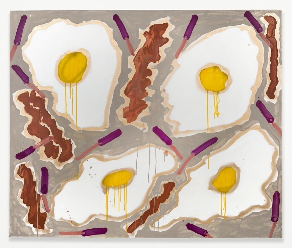 "Katherine Bernhardt Bacon and Eggs 2014 Acrylic and spray paint on canvas 60"" x 27"" KBern002"