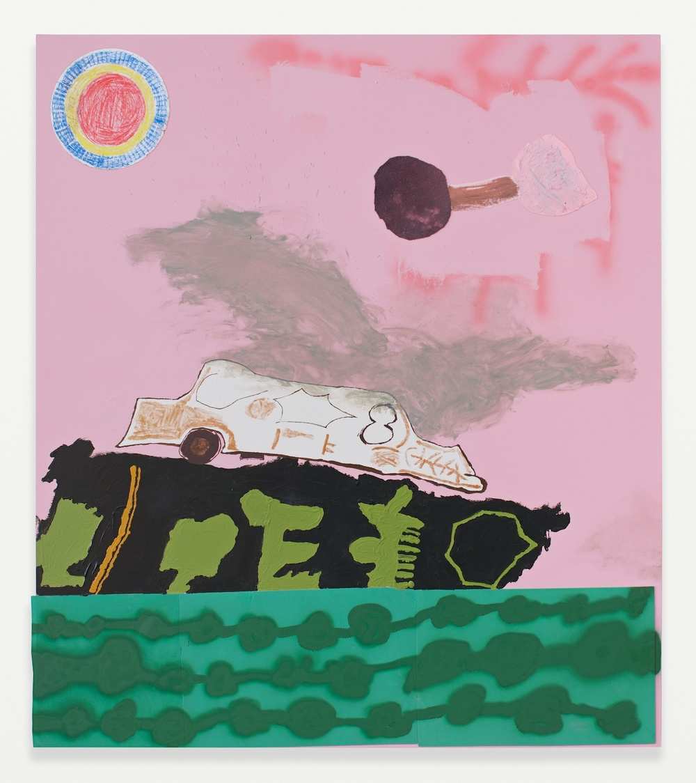 Torey Thornton  Barged Gator  2014 Acrylic, spray paint, foam, nail polish, felt, and collage on wood panel 54h x 47 ½w in TT001