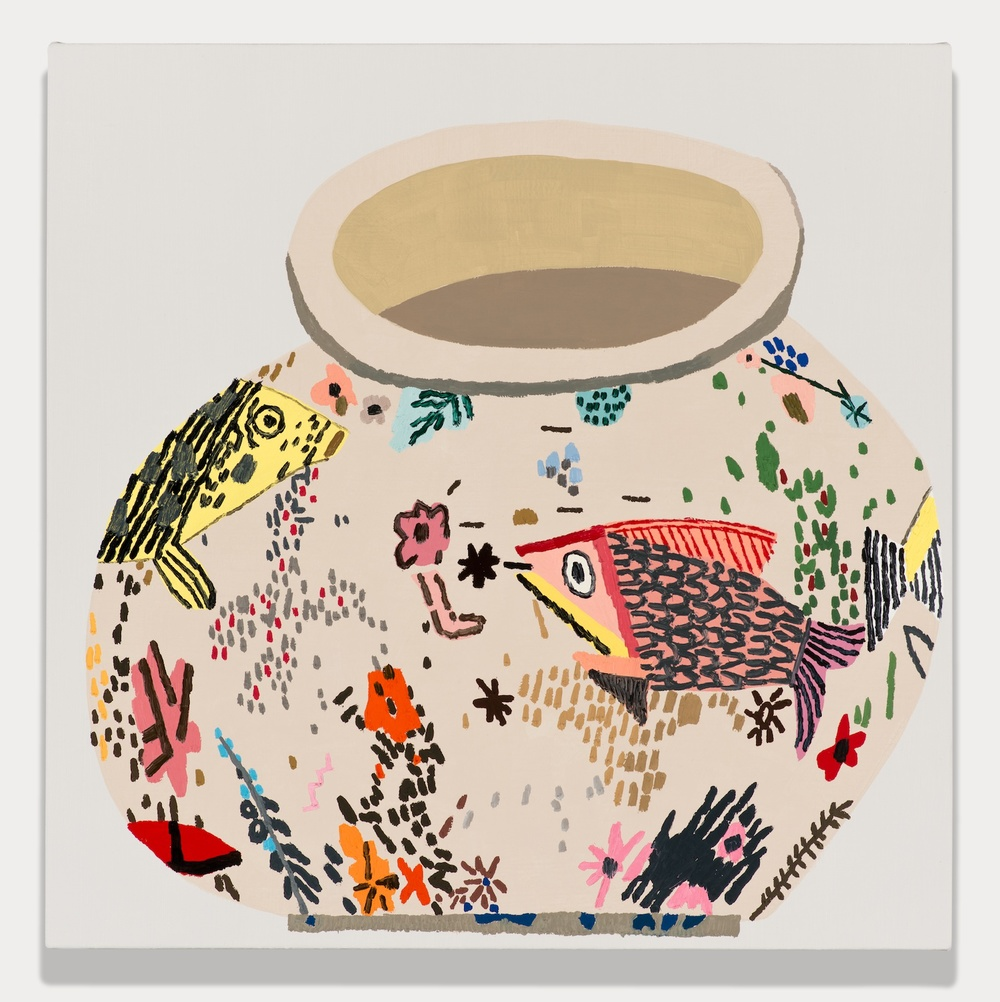 Jonas Wood  M. S. F. Fish Pot #2  2014 Oil and acrylic on linen 20h x 20w in JW183