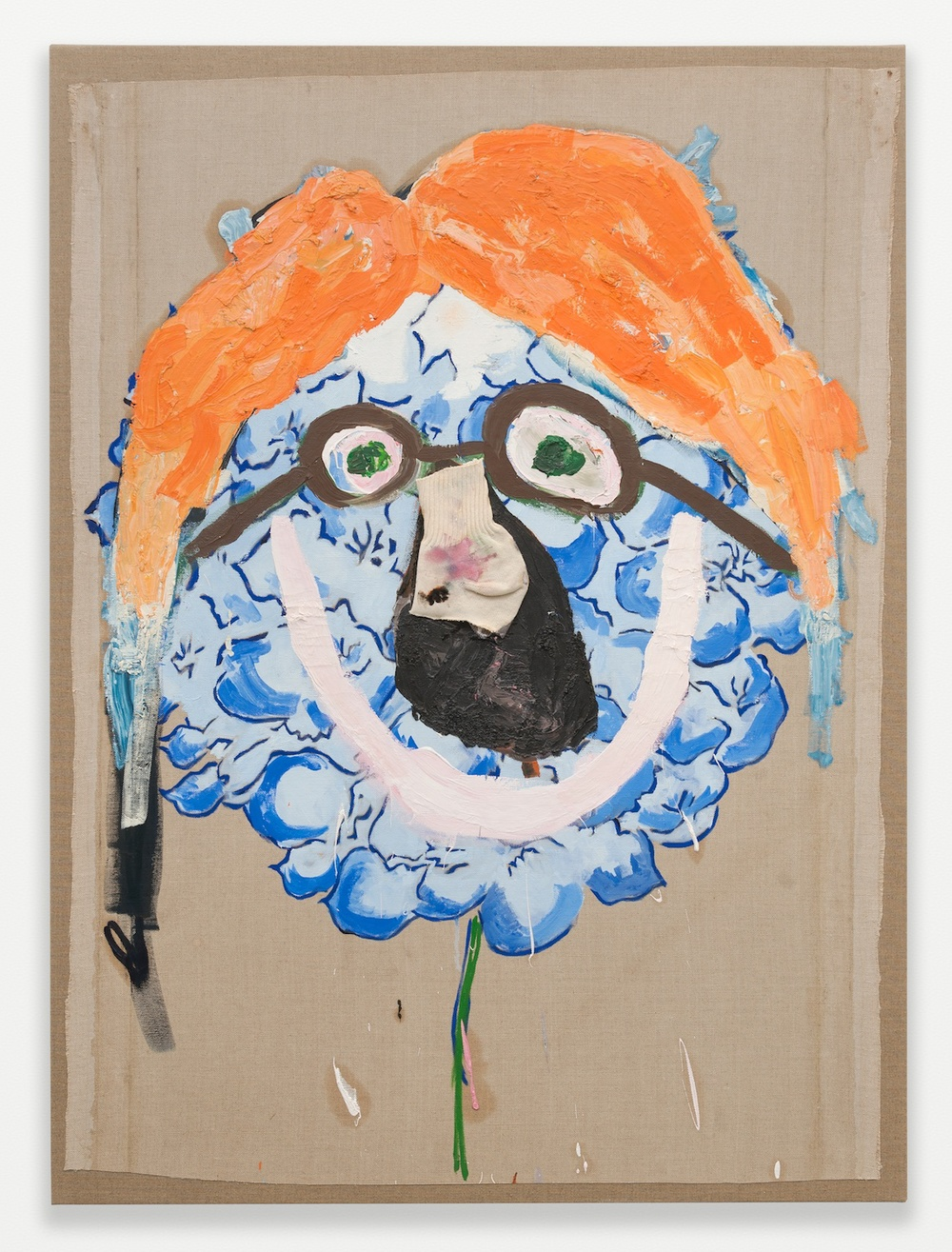 "Mark Grotjahn Untitled (TBC Flower Face 435) 2000 Oil and sock on linen, mounted on linen 50"" x 37"" MG435"