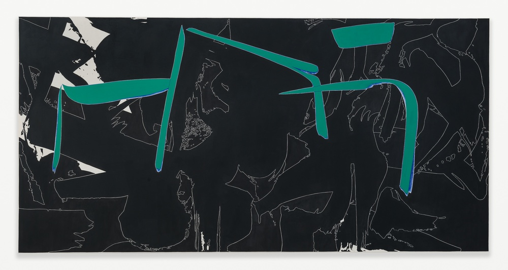 "Zak Prekop Black and Green with Blue (View From) 2014 Oil on muslin 48"" x 96"" ZP300"