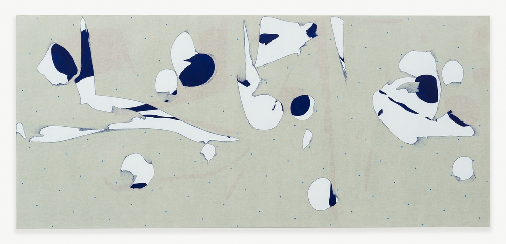 Zak Prekop  Transparency with Green and Blue  2014 Oil on muslin 35h x 78w in ZP302