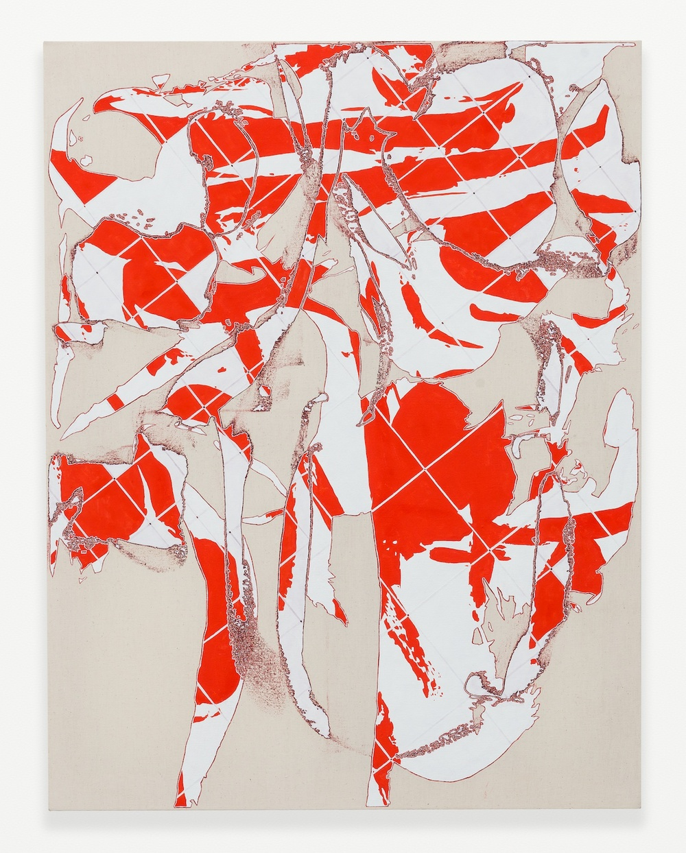 Zak Prekop  Two Grids (Three Reds)  2014 Oil on canvas 35h x 27w in ZP305
