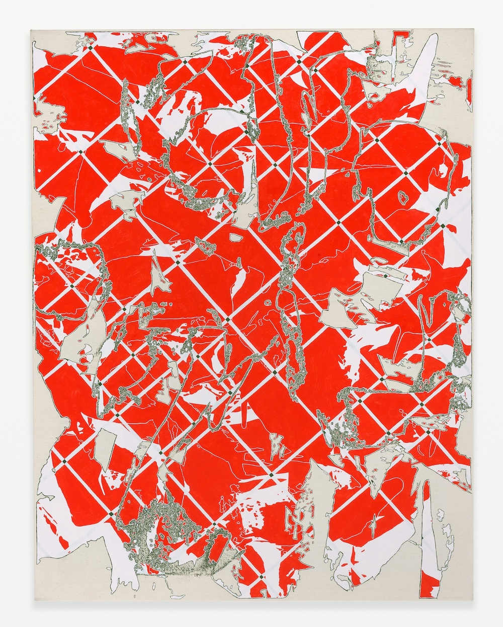 Zak Prekop  Two Grids (Red with Green)  2014 Oil on canvas 35h x 27w in ZP304