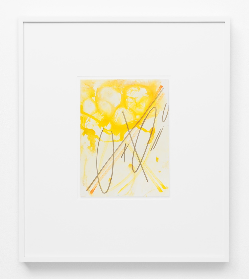 "Suzanne McClelland 0 + 0 = 0 yellow 2014 Ink and paint marker on YUPO 12"" x 9"" SM219"