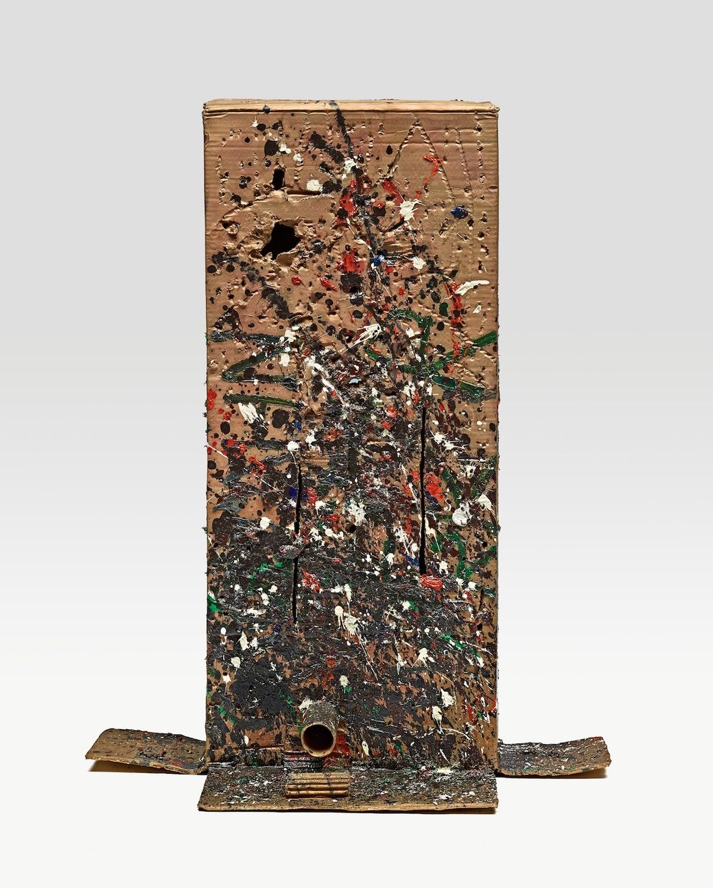 Mark Grotjahn  Untitled (Unusual Still Named and Splattered Mask M29.c)  2013 Painted bronze 36 ½h x 28w x 18 ½d in M29.c