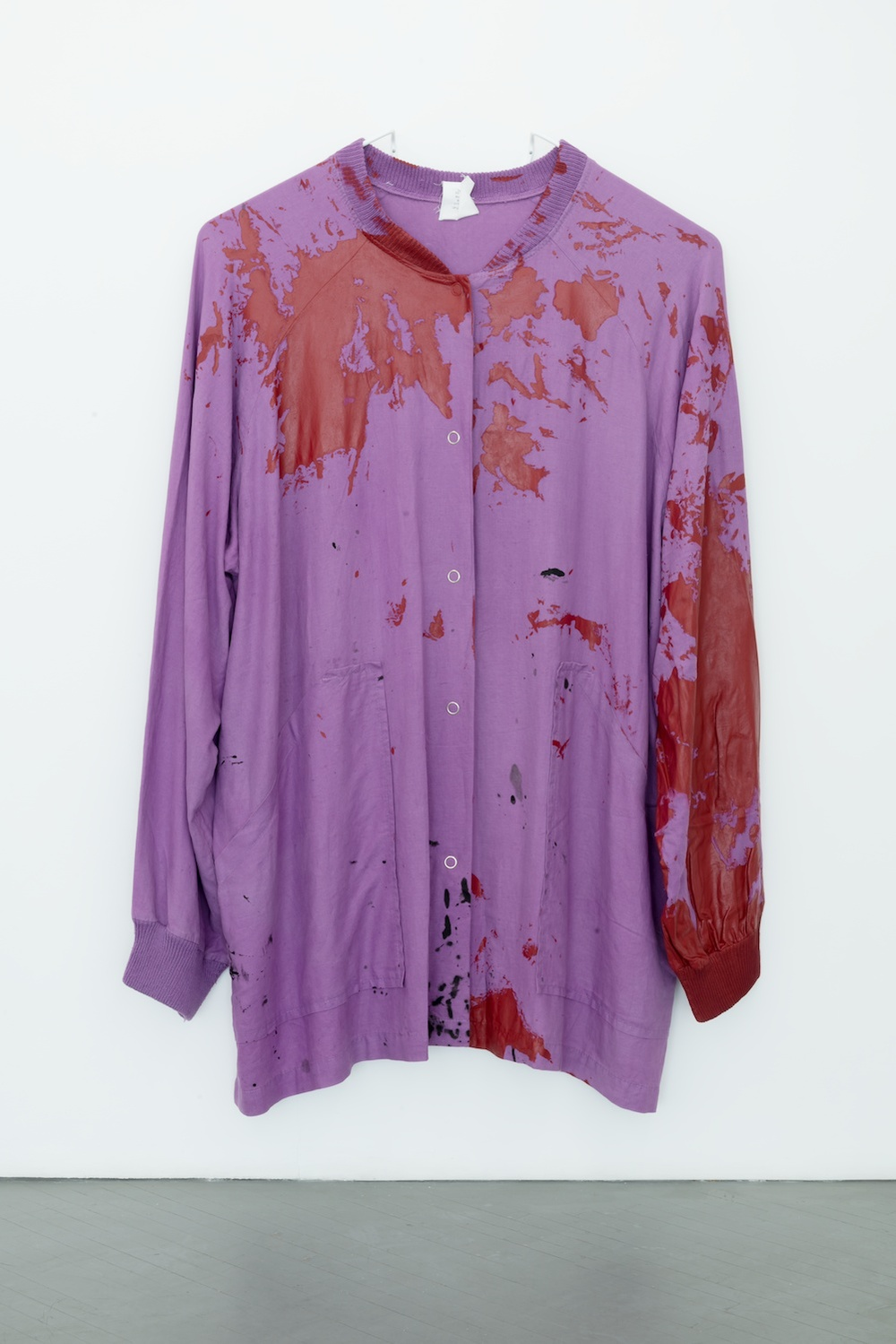 "Amanda Ross-Ho UNTITLED SMOCK (ACCIDENT) 2013 Dyed linen, hand knit linen, cotton/acrylic blend, heat transfer, thread, latex paint, acrylic paint, prong snap buttons 85"" x 50"" ARH074"