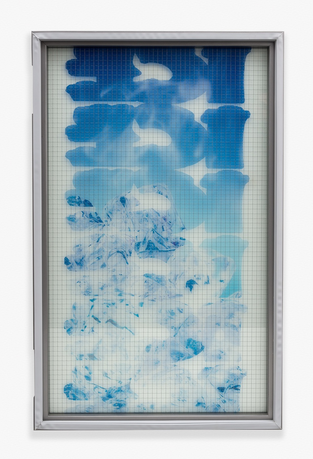 "Chris Bradley Freezer Door (ICEICEICE) 2014 Wire glass, printed clear film, wood, rubber gasket 44"" x 27"" x 2"" CB102"