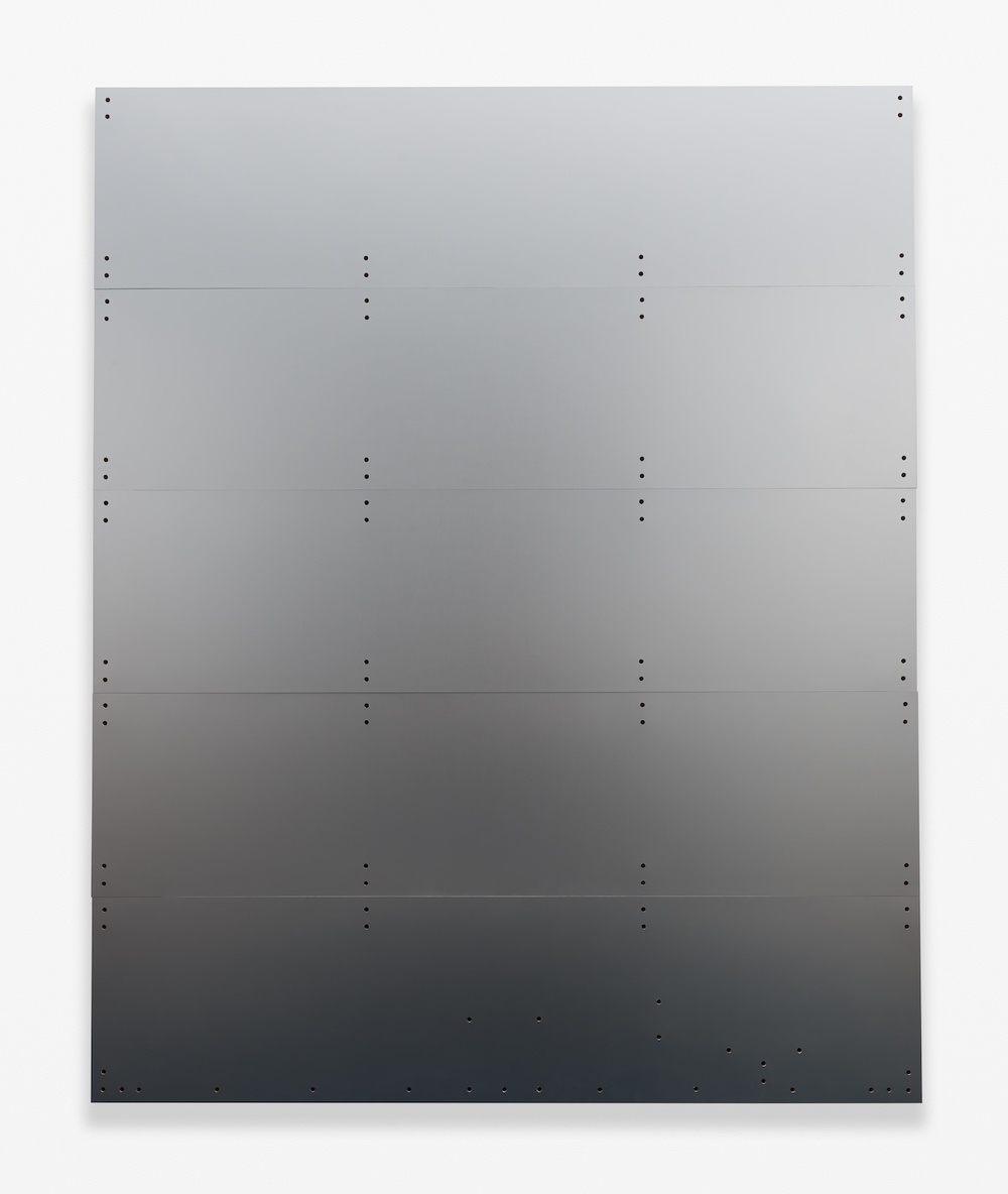 "Chris Bradley Blank (Truck Door, Silver) 2014 Aluminum on panel 60"" x 48"" CB103"