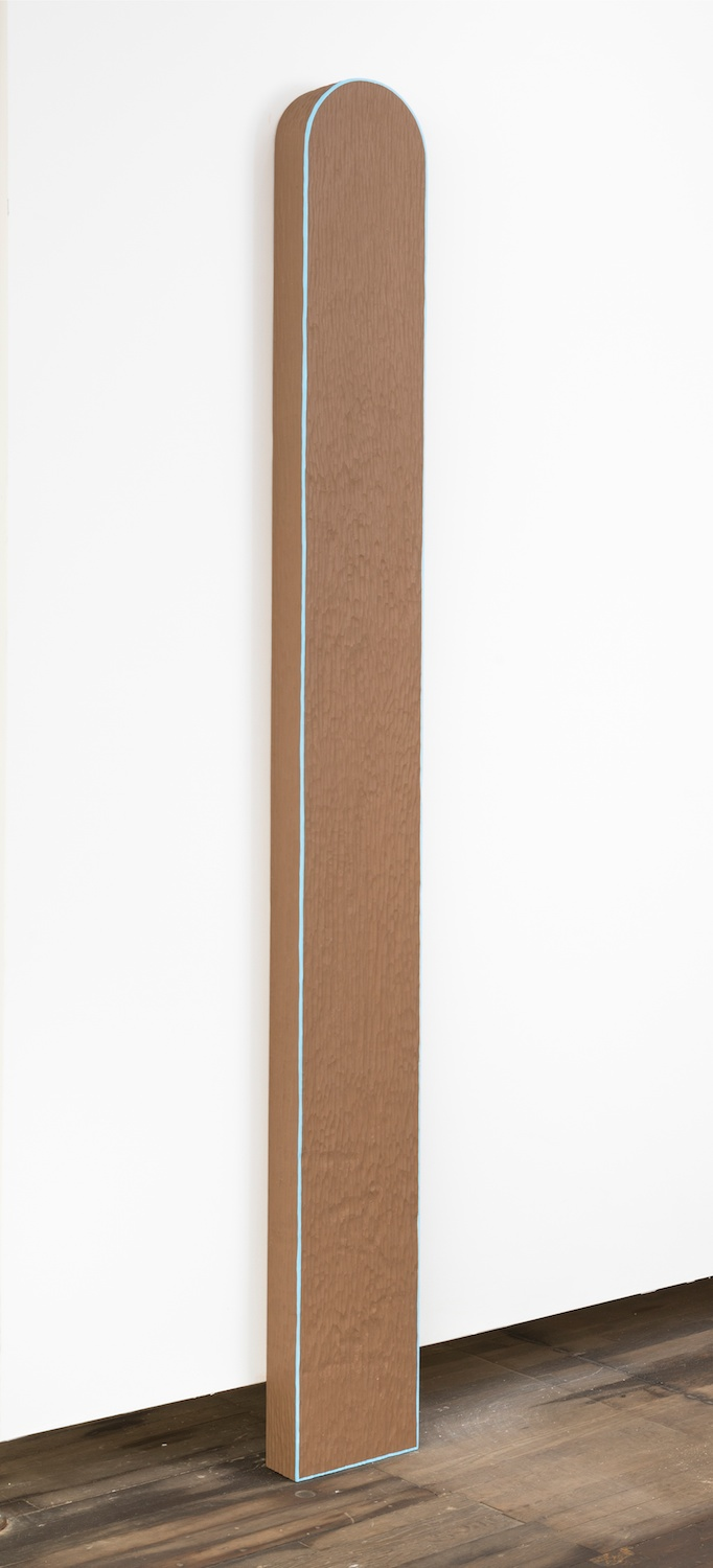 "Lisa Williamson Marker, Blue Line 2014 Acrylic on wood 90"" x 9 ¾"" x 3 ½"" LW132"