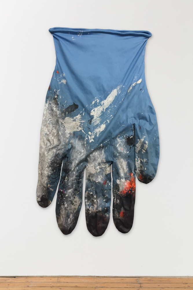 Amanda Ross-Ho  BLUE GLOVE LEFT #2  2014 Stretch cotton sateen, acrylic paint, cotton piping, armature wire 70h x 43w in ARH095