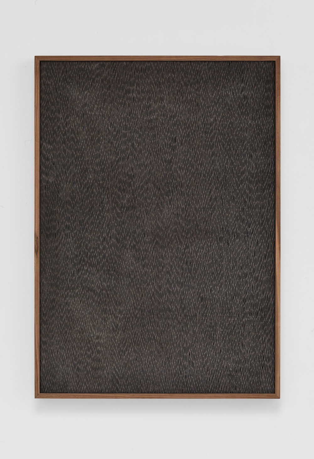"Adam Pendleton Untitled (Etched Plaster) 2014 Pigmented hydrocal in walnut frame 42 ½"" x 30 ½"" x 2 ½"" AP355"