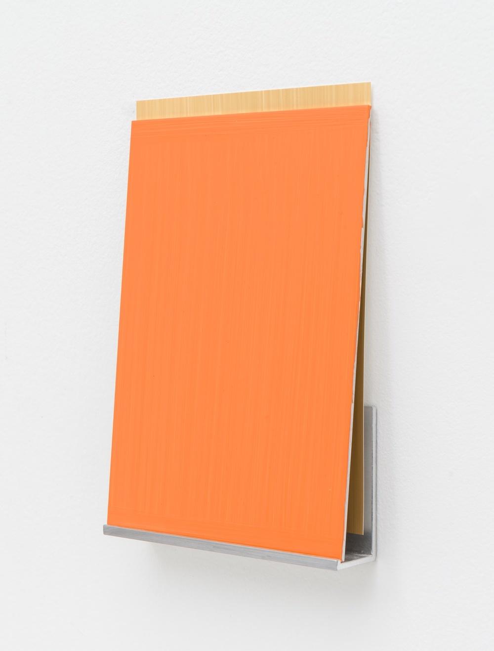 Imi Knoebel  An Meine Grüne Seite B 12-4  2012 Acrylic on aluminum, acrylic on plastic film, aluminum shelf 7 ⅞h x 5 ½w x 1 ⅛d in  IK005