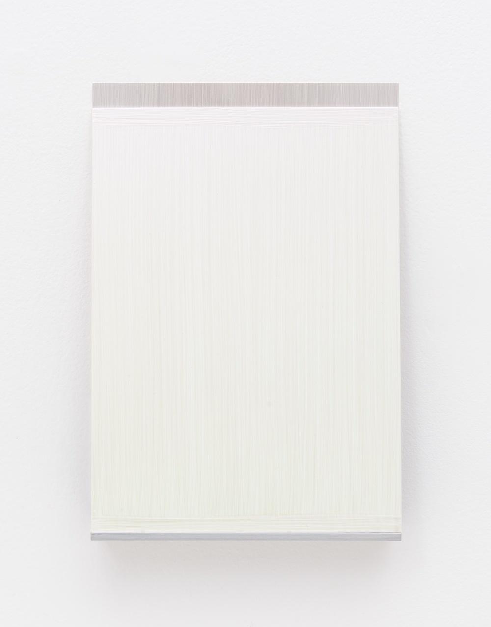 "Imi Knoebel An Meine Grüne Seite C 13-1 2012 Acrylic on aluminum, acrylic on plastic film, aluminum shelf 7 5/6"" x 7 1/12"" x 1 9/16"" IK006"