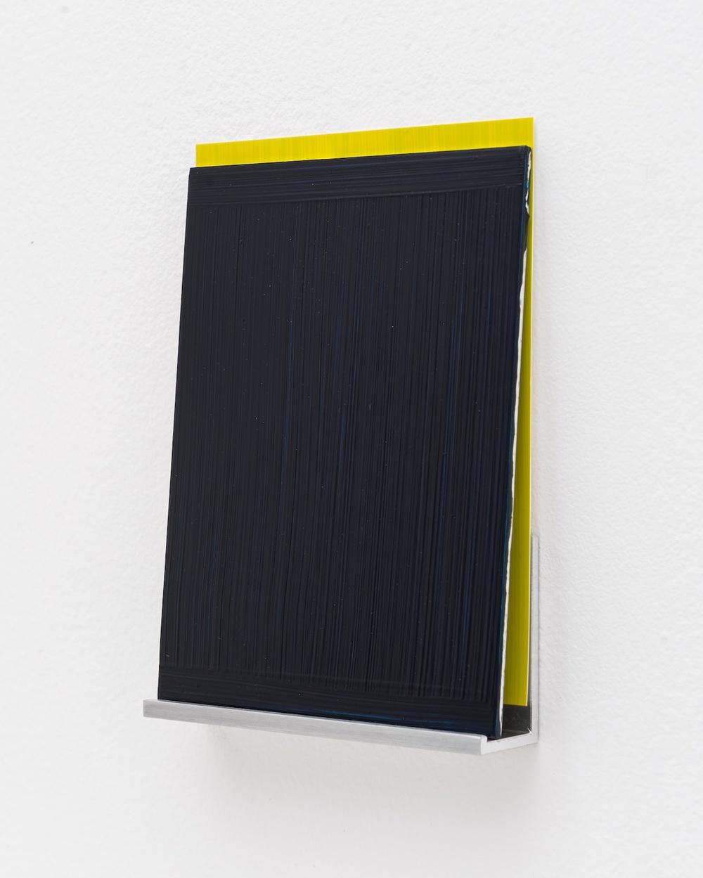 Imi Knoebel  An Meine Grüne Seite A 13-4  2013 Acrylic on aluminum, acrylic on plastic film, aluminum shelf 5 ½h x 4 ⅛w x 1d in IK004