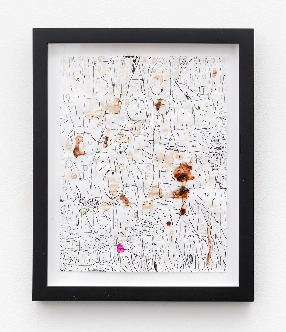"William Pope.L Black People Are A Cave Inside An Earthworm 2011 Mixed media on paper 11"" x 8 ½"" WP001"