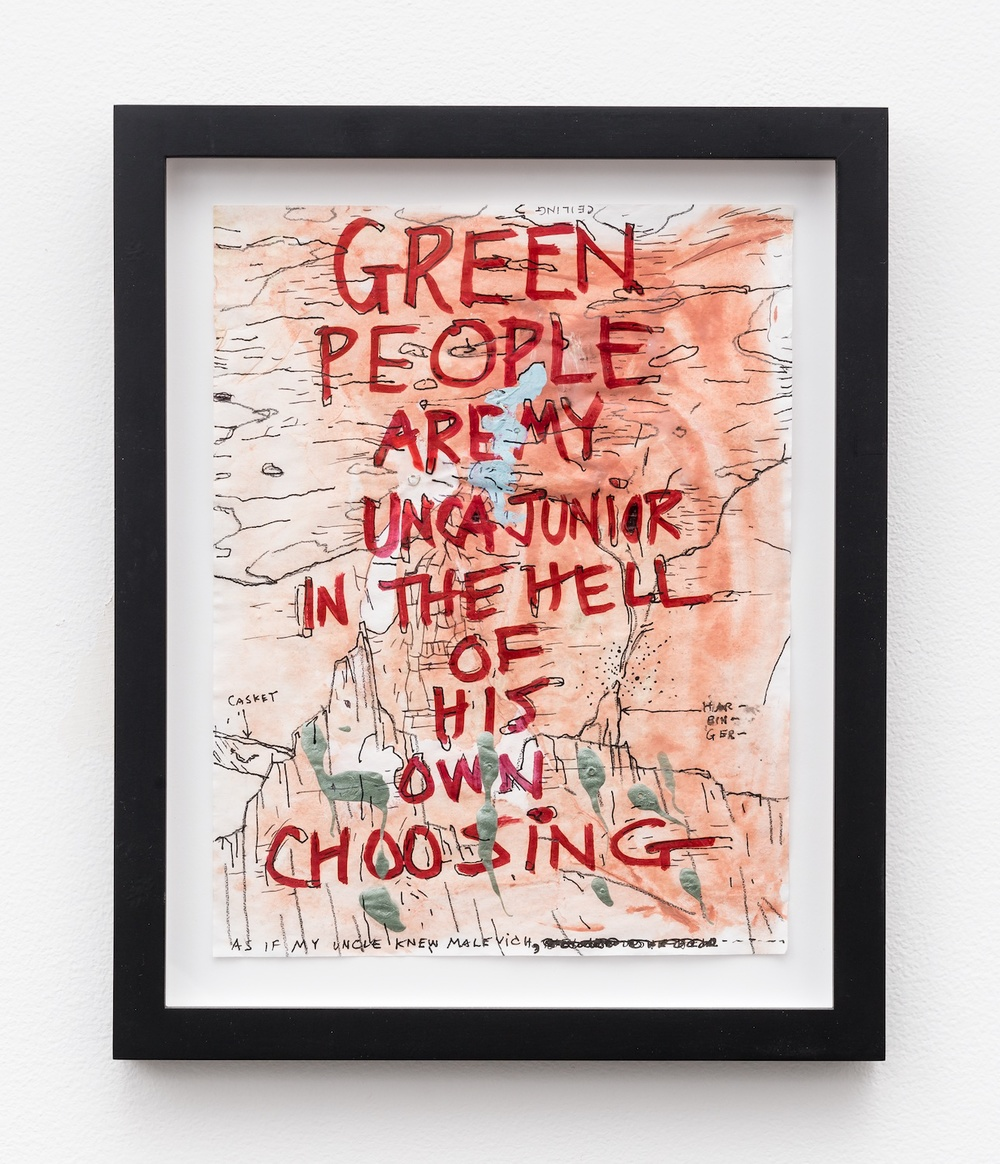 "William Pope.L Green People Are My Unca Junior In The Hell Of His Own Choosing 2011 Mixed media on paper 11"" x 8 ½"" WP002"