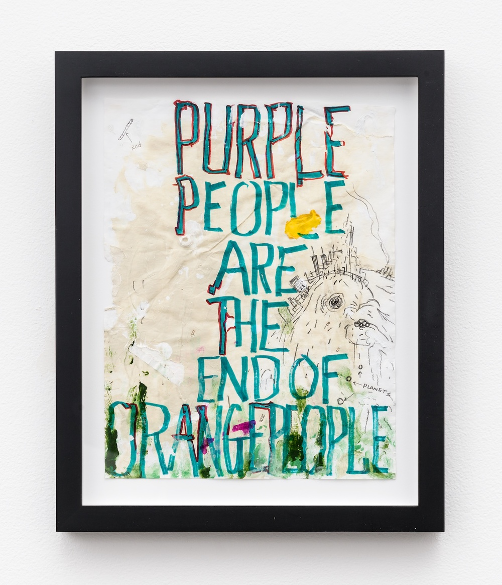 William Pope.L  Purple People Are The End of Orange People  2011 Mixed media on paper 11h x 8 ½w in WP003