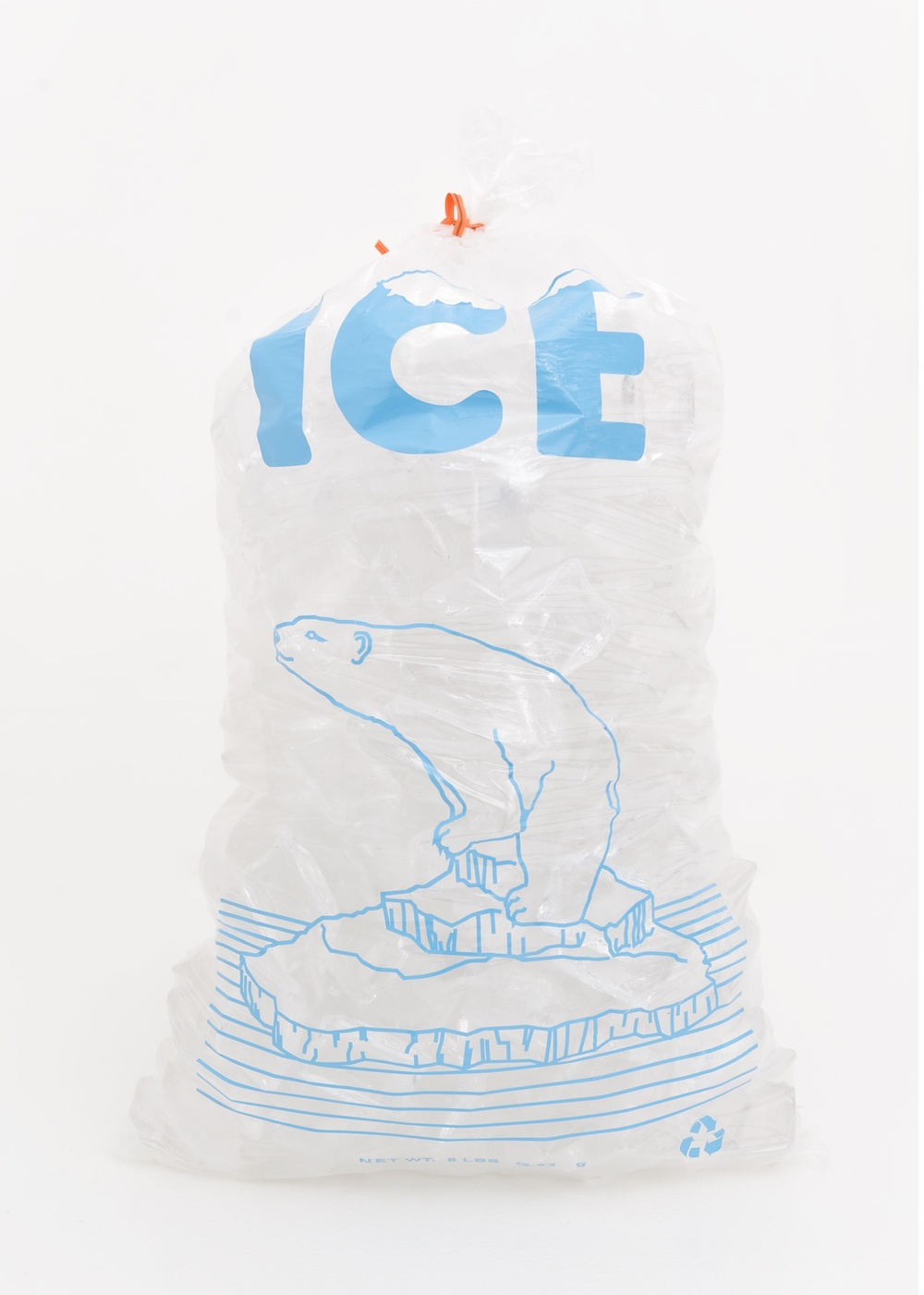 "Chris Bradley Ice Bag (Polar Bear) 2014 Glass, plastic bag, and cut vinyl 15"" x 8"" x 6"" CB118"