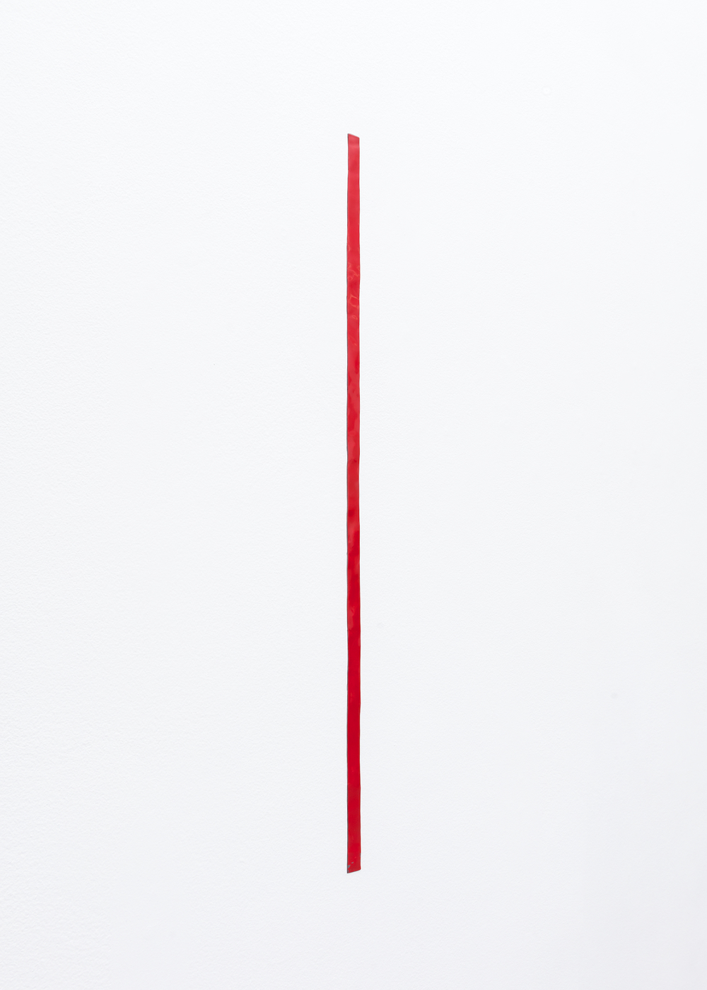 Nancy Brooks Brody  39 inch Measure (red 1)  2014 Oil enamel on lead embedded into wall 39h x 1w in NBB003