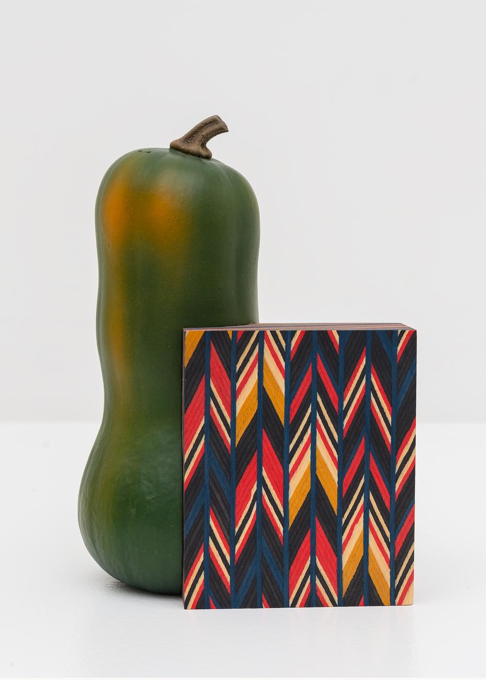 Frank Benson Untitled (Aztec) 2011 11h x 7 1/2w x 4 1/2d in Cast plastic, acrylic paint, wood, polyurethane, MDF FB001