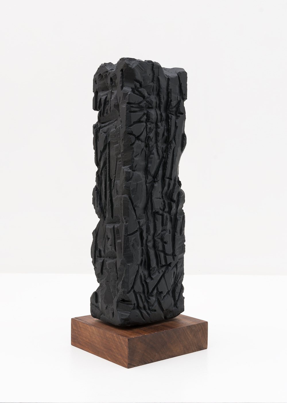 "Anthony Pearson Untitled (Freestanding Sculpture) 2015 Medium coated pigmented white art plaster with oiled walnut base 16 ¼"" x 3 ½"" x 3 ½"" AP373"