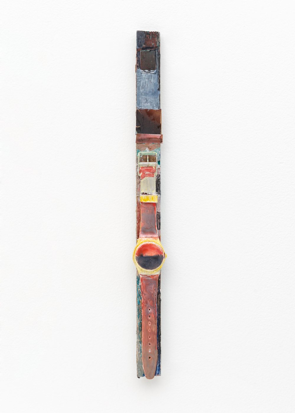 "Hayley Tompkins Shadow Clock III 2009 Wood, watercolor, watch 14"" x 1 1/4"" x 5/8"" HT005"