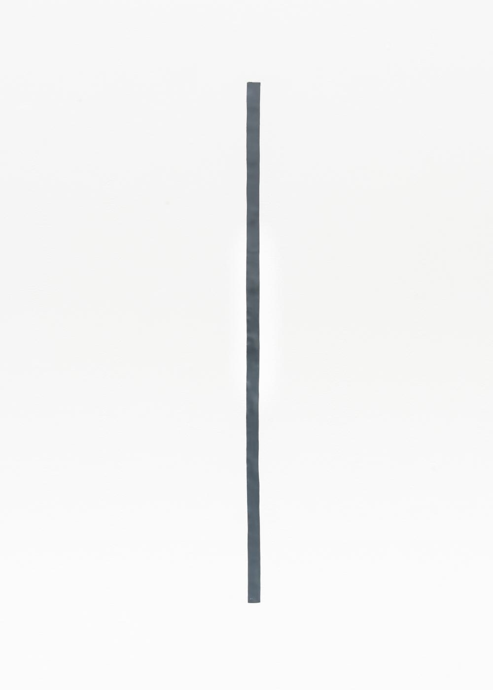 Nancy Brooks Brody  43 inch Measure  2014 Oil enamel on lead embedded into wall 43h x 1w in NBB001