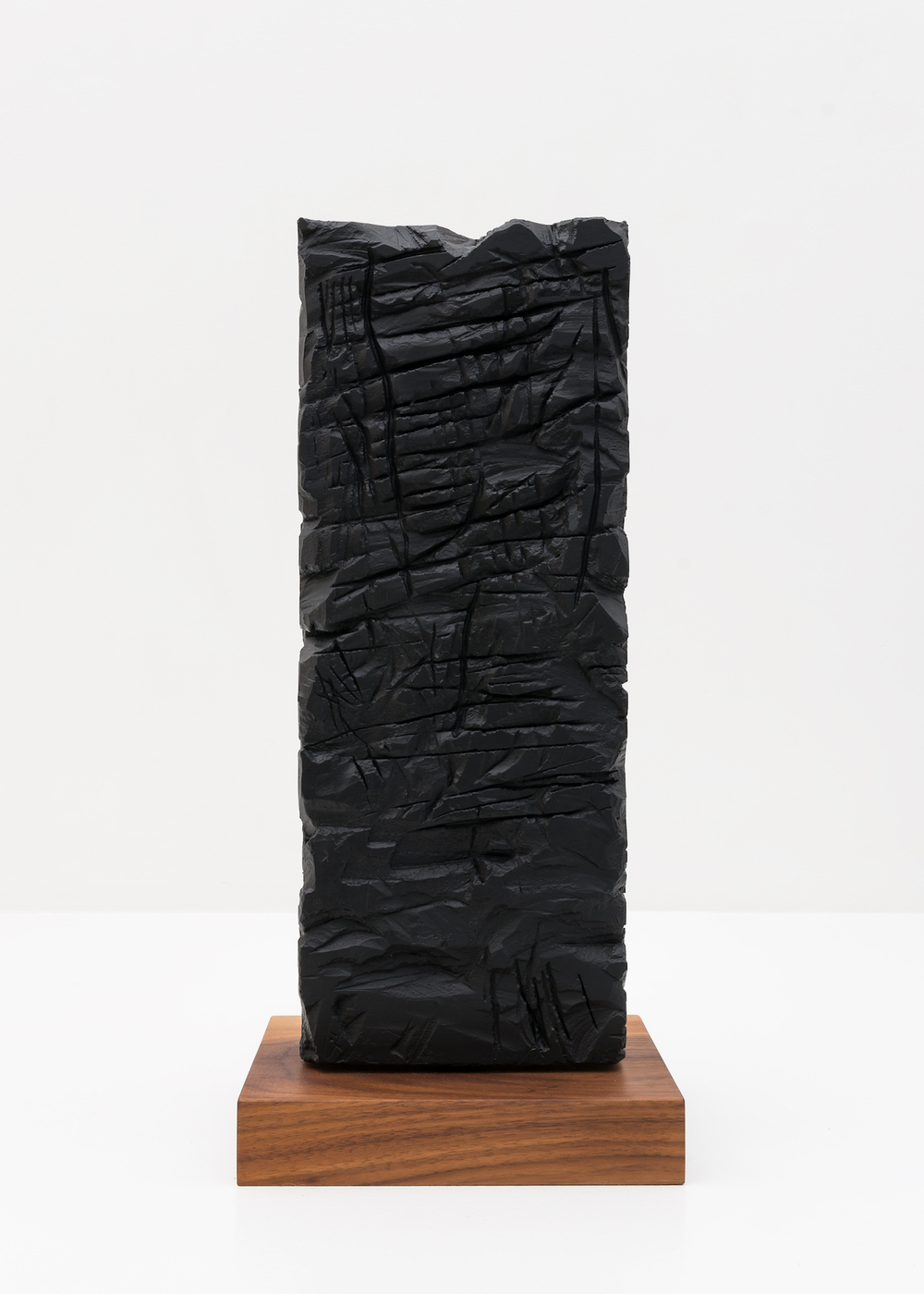 Anthony Pearson  Untitled (Freestanding Sculpture)  2015 Medium coated pigmented white art plaster with oiled walnut base 18h x 7w x 3 ½d in AP372