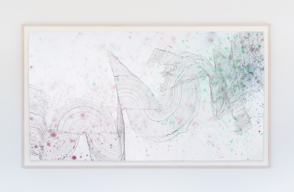 "Jay Heikes  Music for Minor Planets (Ledger)  2015 Pencil and dye on paper 44"" x 80"" JH043"