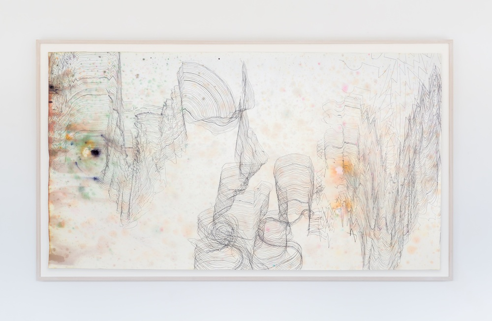 "Jay Heikes  Music for Minor Planets (Nureyev)  2015 Pencil and dye on paper 44"" x 80"" JH044"
