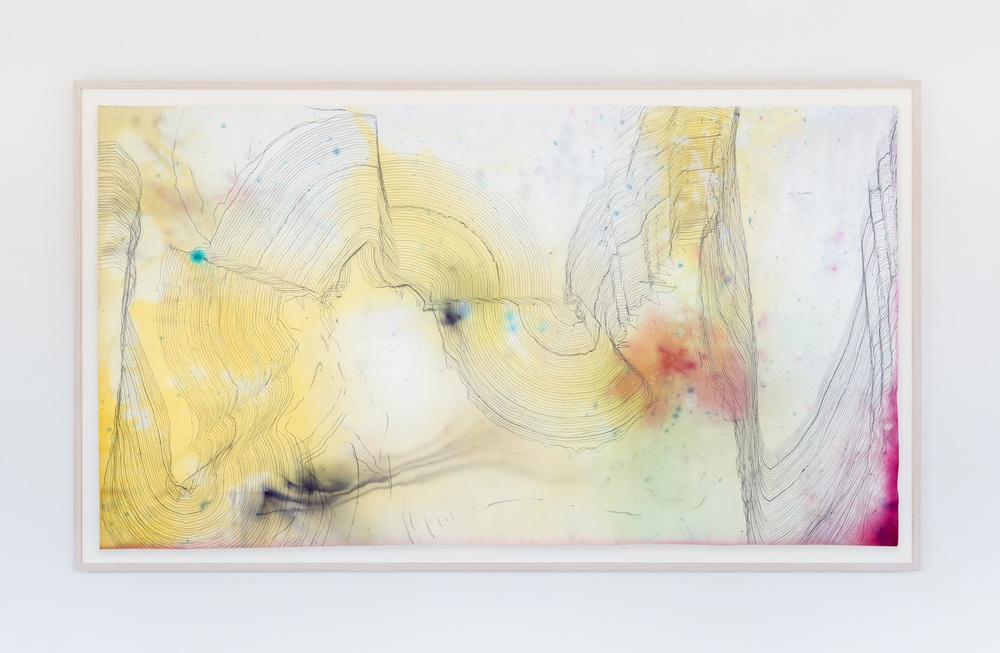 "Jay Heikes Music for Minor Planets (Levi-Strauss) 2015 Pencil and dye on paper 44"" x 80"" JH041"