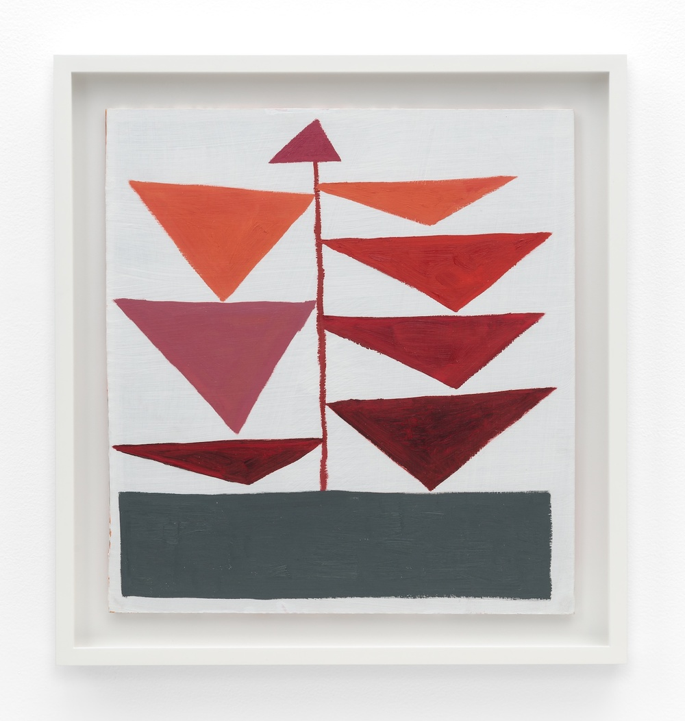 "Jonas Wood Triangle Plant 2010 Oil and acrylic on cardboard 14 ⅓"" x 13 ¼"" JW188"