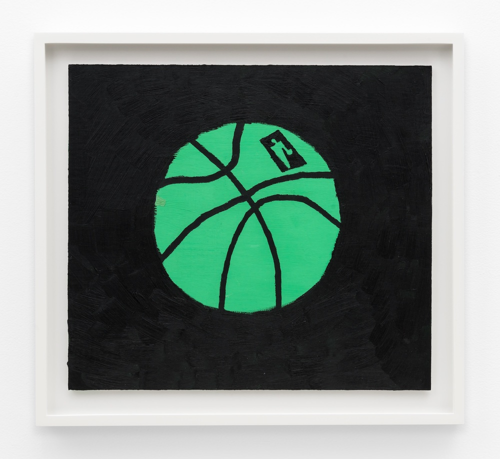 "Jonas Wood Green Ball 2014 Oil and acrylic on cardboard 14 11/6"" x 16 5/16"" JW190"