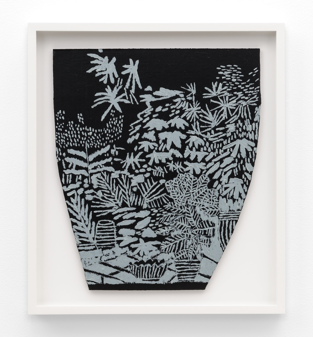 Jonas Wood  B+W Landscape Pot 3  2014 Oil and acrylic on cardboard 14 ⅓h x 12 ¼w in JW192