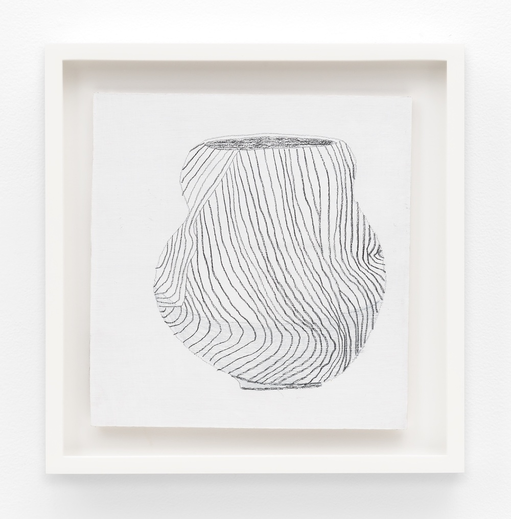 "Jonas Wood SK Pot 1 2012 Gesso and colored pencil on cardboard 9 ⅜"" x 9 1/16"" JW193"