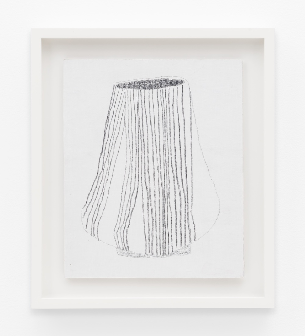 "Jonas Wood SK Pot 3 2012 Gesso and colored pencil on cardboard 10 ½"" x 8 ¾"" JW195"