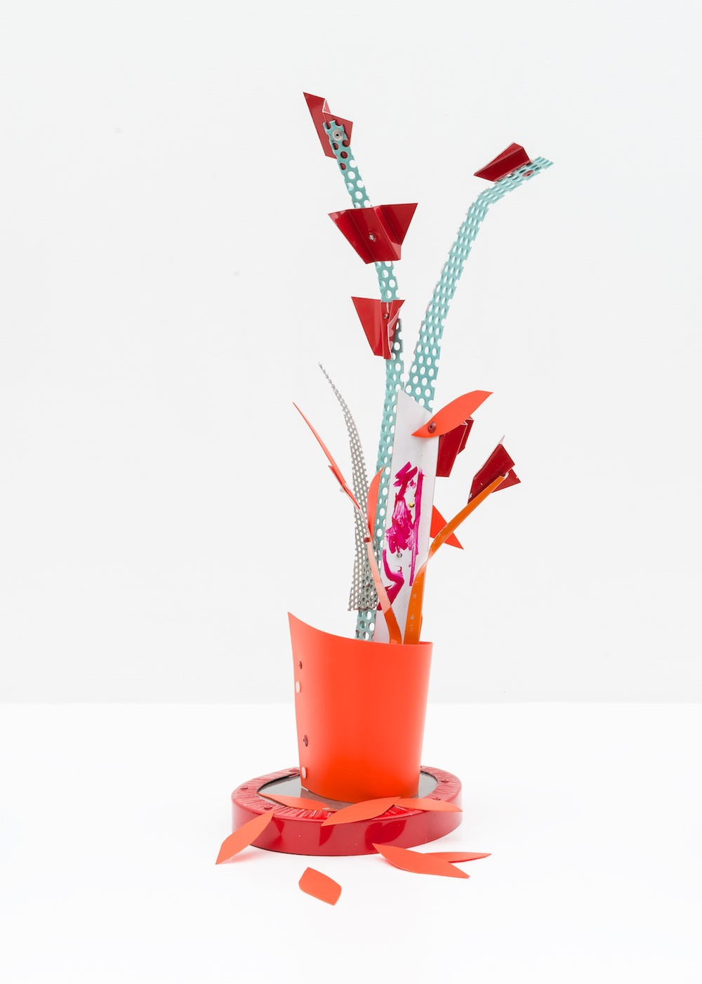 "Jason Meadows Fragment as Plant Stand 2015 Painted aluminum, HDPE, and plexiglass base 23"" x 8"" x 8"" JM021"