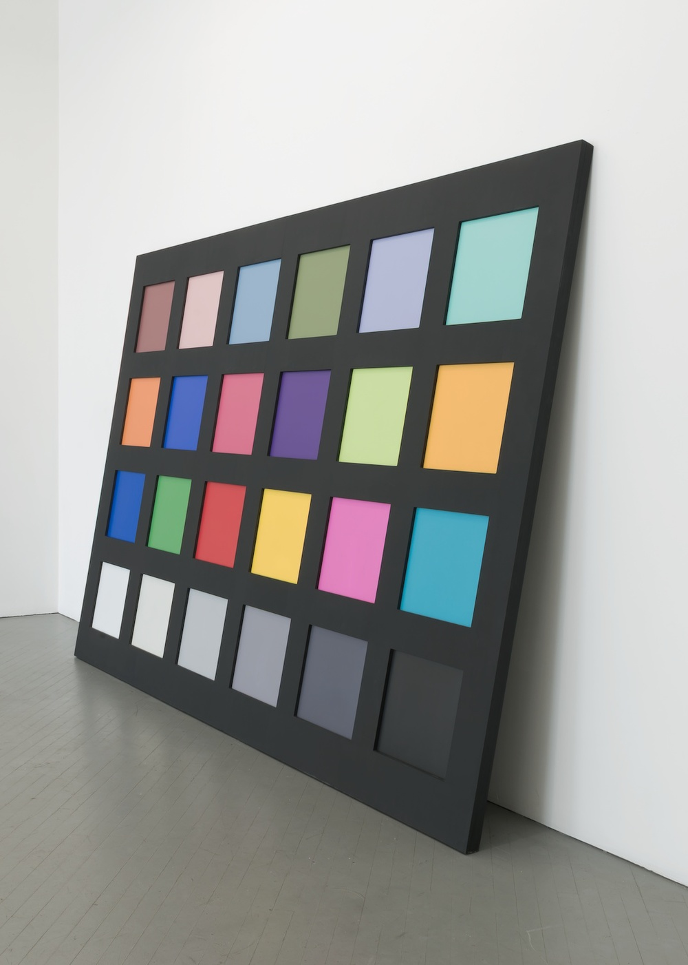 "Amanda Ross-Ho Color Calibration Card (Artifact from THE CHARACTER AND SHAPE OF ILLUMINATED THINGS) 2013 Exterior MDF, aluminum, UV print on sintra, latex paint 84""  x 116 ¼""  x 2 ⅛"" ARH089"