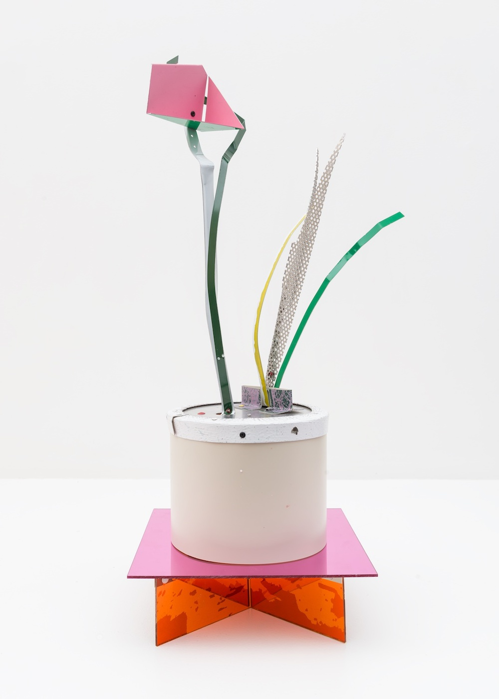 "Jason Meadows Potted Plant 2015 Painted aluminium and plexiglass base 25 ¼"" x 10"" x 10"" JM022"